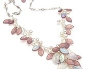 Violet Beaded Necklace, Leaf Necklace, Fairy Necklace, Bridal Jewelry