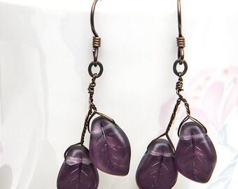 Purple Leaf Earrings, Dangle Earring, Nature Jewelry, Mothers Day Gift dark amethyst color