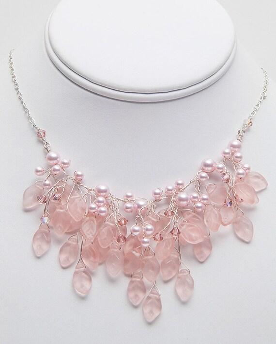 Pink Bridal Necklace, Floral Jewelry, Pink Bib Necklace, Pink Statement Necklace, Pink Wedding Jewelry, Leaf Necklace, Faerie Necklace