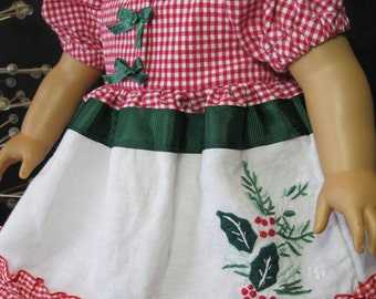 "Opening Presents at Christmas dress for 18"" dolls like American Girl, embroidered linen,satin bows,ribbons,ruffles,gingham"