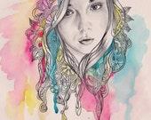 Original custom portrait, mixed technique, watercolors, pencil, portrait from your photo, drawing, FREE Digital format