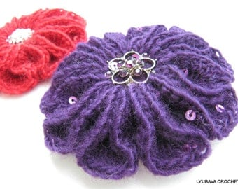 Crochet Flower PATTERN, Crochet Brooch Scarlet Flower, 3d Flower Brooch DIY Crafts Unique Flower Tutorial Instant Download PDF Pattern No.59