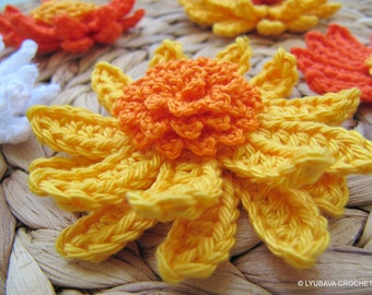 Crochet Flower PATTERN, Gerbera Daisy Flower, Spring DIY Crafts 3d Flowers, Easy Tutorial Instant Download PDF Pattern No.79 Lyubava Crochet