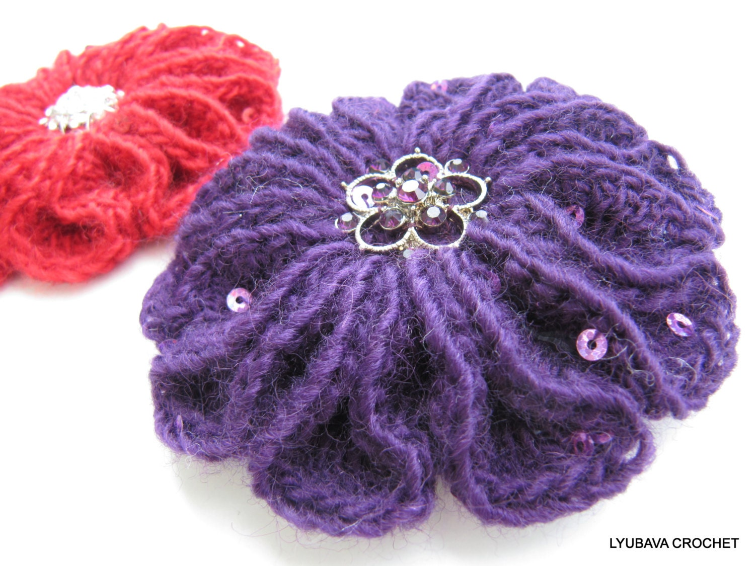 Crochet Flower PATTERN Crochet Brooch Scarlet Flower 3d