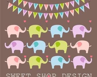 Baby Shower Clip Art, Elephant Clip Art, Animal Clip Art, Royalty Free Clip Art, Instant Download