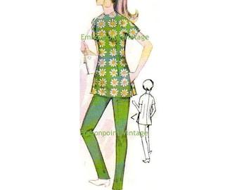 Plus Size (or any size) Vintage 1969 Tunic Top Pattern - PDF - Pattern No 121 Gwen Tunic