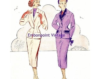 Plus Size (or any size) Vintage 1949 Skirt Suit Sewing Pattern - PDF - Pattern No 51 52 Della