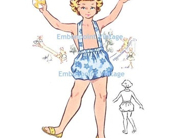 Plus Size (or any size) Vintage 1950s Playsuit Pattern - PDF - Pattern No 161 Claudia