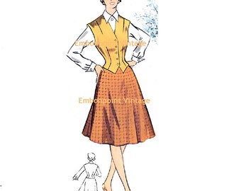 Plus Size (or any size) Vintage 1950s Blouse Pattern - PDF - Pattern No 93a Kimberly Vest