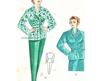 Plus Size (or any size) Vintage 1949 Pyjama Sewing Pattern - PDF - Pattern No 76 77 Bessie