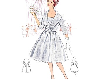Plus Size (or any size) Vintage 1950s Wedding Dress and Jacket Pattern - PDF - Pattern No 118 Eileen