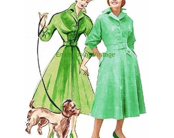 Plus Size (or any size) Vintage 1949 Coatdress Sewing Pattern - PDF - Pattern No 24 25 Viola