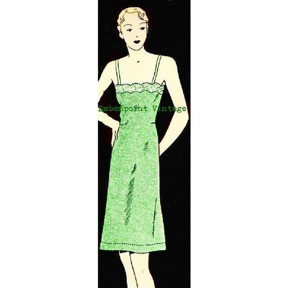 Plus Size (or any size) 1934 Vintage Sewing Pattern Petticoat / Full Slip - PDF - Pattern No 2 Gracie