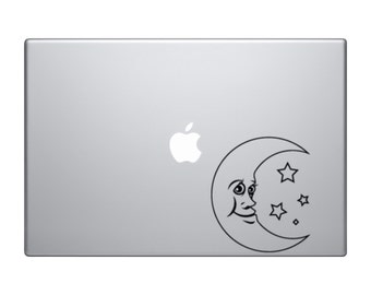 Crescent Moon and Stars Macbook and Car Decal