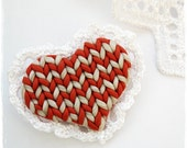 SALE Easter gift Red Heart Brooch Polymer clay Free shipping