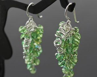 Grape Cluster Earrings with Peridot Swarovski Crystals