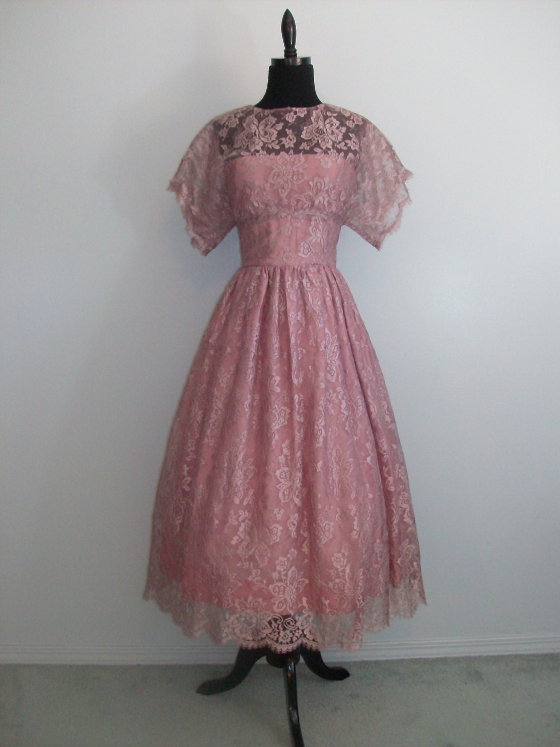 Vintage 1980s Prom Lace dressy dress Party Formal Bridesmaid - photo #27