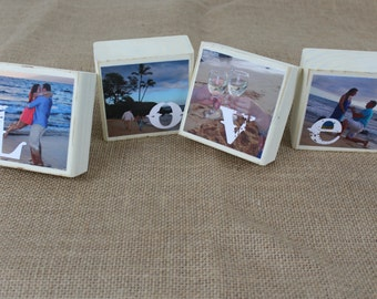 Newlywed Gift Wedding Decor Table Centerpieces, Reception Decor Pictures of Bride-Groom SET of 4