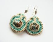 Soutache earrings handmade embroidered ecru and turquoise, TOHO beads, ooak gift for her under 40, christmas