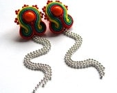 Soutache stud earrings handmade post earrings statement earrings embroidered red green orange yellow chains wedding TOHO oaak gift for her