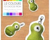 "Mini Felt Monster Plush Keyring by BABUA - ""Moe"" - 12 Colors"