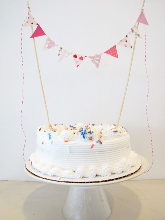 "Fabric Cake Bunting Decoration - Cake Topper - Wedding, Birthday Party, Shower Decor in ""Sweetie Pie"" Valentines pink, fuschia, dots, floral"