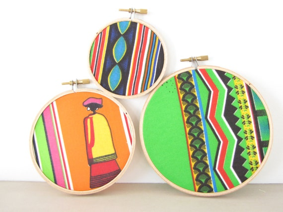 Embroidery Hoop Wall Art - Instant Collection of 3 Colorful African Print Fabrics Tribal Orange Neon Green Stripe South Africa Global Home