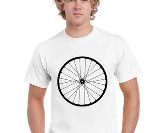 Bicycle Tshirt. Wheel T Shirt. Bike T Shirt.  Men Size S. White. Hand Screen Printed.