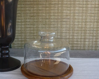 Vintage Teak Cheese Tray with Glass Dome, Mid Century Modern Glass Display Cloche