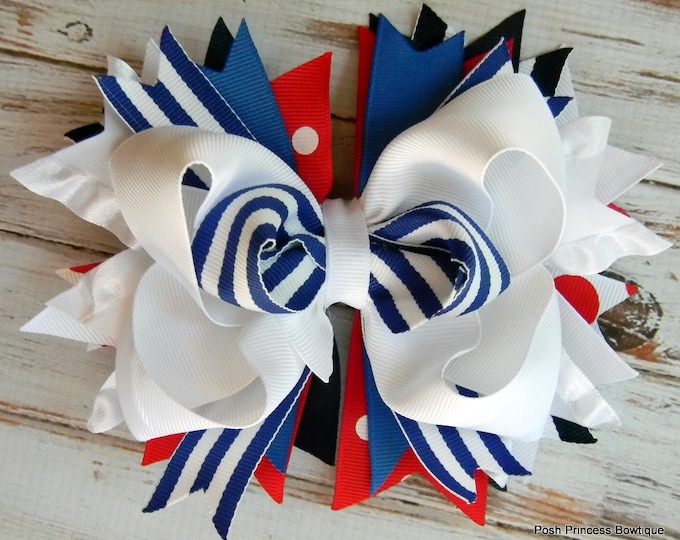 Girls Hair Bow, Baby hair bow, Hair bow, Hair bows, Red White Blue Boutique Hair Bow Childrens hair bows Stacked hair bow