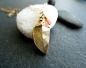 Gold Rutilated Quartz Dagger Necklace with Padparadscha Orange Sapphire Rondelle Accents - Gold Dipped Quartz Pendant