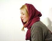 Hood scarf with lace pattern, hooded merino neck warmer, womens warm scarves