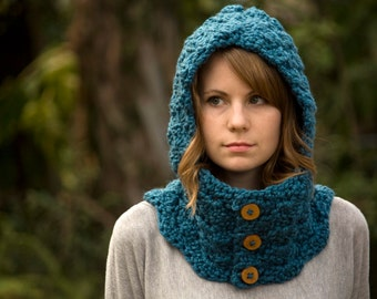 Hooded Cowl, Wood Button Crochet Neck Warmer, Ocean Blue, Teal, Marine Blue Scoodie