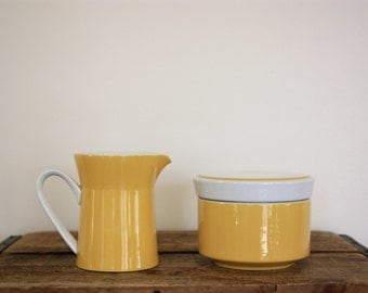 Vintage Mikasa 'Light n' Lively' Yellow and White Creamer Pitcher and Sugar Bowl Container