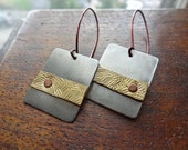 Hammered Brass Mixed Metal Earrings