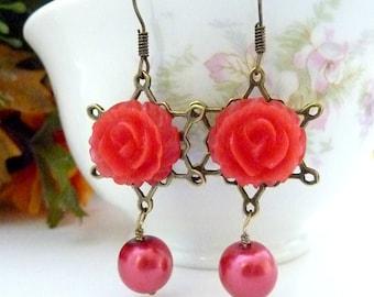 RED EARRINGS Flower Earrings, Red Pearl Drops Red Flowers, Vintage Style, Resin Flower Earrings