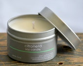 Citronella Soy Candle Tin 4 oz. - bug repellent candle - summer soy candle - unisex soy candle - camping soy candle - outdoor candle