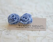 Periwinkle blue post earrings--upcycled fabric flowers