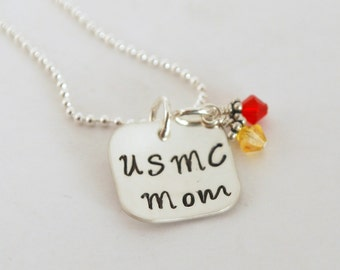 USMC Wife USMC Mom Hand Stamped Sterling Silver Necklace Gift for Her
