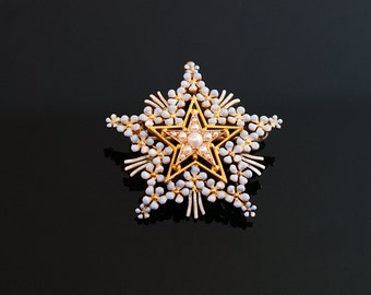 Antique Star Pendant - Seed Pearls and Blue Enamel