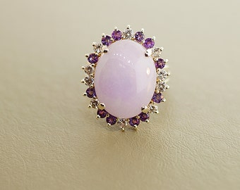 Bold and Beautiful Vintage Lavender Jadeite Ring with Diamonds and Amethyst