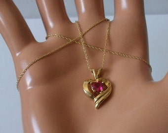 Vintage 10k Solid Gold Red Topaz Pendant Chain Necklace