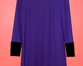 XS S Extra Small Vintage 80s Mod Modette Purple Wool Evan-Picone Winter Holiday Velvet Collar Long Sleeve Warm Dress