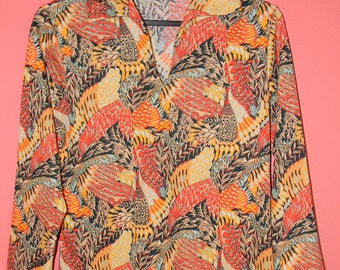 Vintage 60s 70s Groovy Orange Brown Yellow Feather Print Hippie Trippy Hipster Indie S M Small Medium Lightweight Blouse Shirt