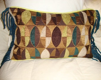 Modern Brocade Pillow w/Bronze Metallic, Teal, Chartreuse & Brown Chenille w/Leather Welt and Rope Fringe. 12 x 18 w/down (Made to Order)