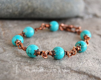 Wire Wrapped Bracelet - Magnesite and Antiqued Copper