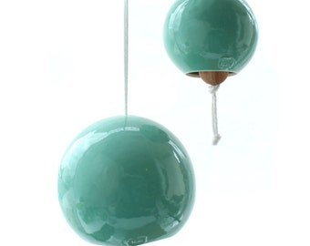 Large Turquoise Porcelain Bell