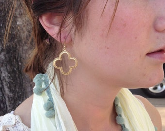 Gold or Silver Plated Clover Earrings