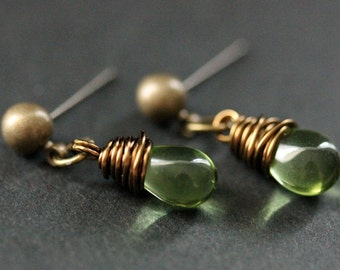 BRONZE Earrings - Peridot Green Teardrop Earrings. Dangle Earrings. Post Earrings. Handmade Jewelry.