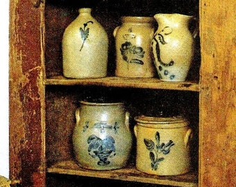 Primitive Cupboard Full Of Crocks  / Picture Plaque Or Refrigerator Magnet /  Made By Adhering Art To Wood